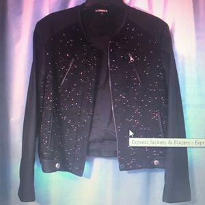 Jackets & Blazers - Express tweed black/pink blazer w/ faux leather L